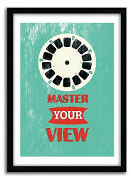 Office Art Motivational Poster Retro Master Your View Quote Print