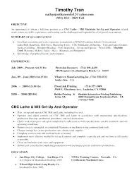 Machinist Resume Objective Manual Examples Template Summary Example Lathe