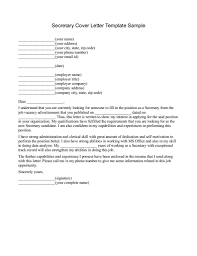 Secretary Cover Letter Examples Resume Template