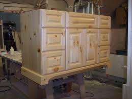 Unfinished Pine Bathroom Wall Cabinet by Custom Cabinets