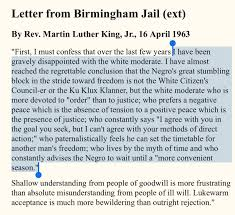 Close Reading Of Text Letter From Birmingham Jail Martin Luther