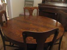 Lowest Price Antique 48 Inch American Round Tiger Oak Dining Table 2 Leaves