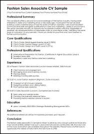 Fashion Sales Associate CV Sample