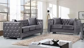 meridian furniture reese 2pc modern tufted grey velvet sofa