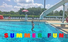Summer Fun At The Pool Slides Diving Board