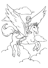 Pegasus Coloring Pages Flying With Girl