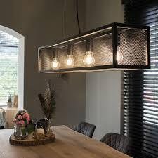 qazqa industrie industrial industrie industrial hängele pendelle pendelleuchte esstisch esszimmer schwarz mit mesh 4 flammig licht