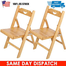 Folding Chair Solid Bamboo Wood Chairs Seat Set Furniture Outdoor Garden  Patio