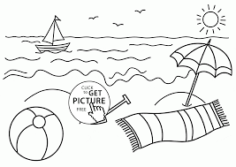 Small Boat And Beach Coloring Page For Kids Seasons