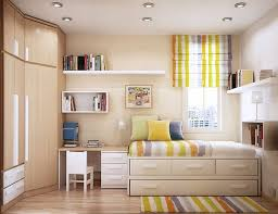 Apartment Beautiful Decor With Wtin Bunk Bed And Colorful Striped Rug Also White Wall Bookshelves Plus Small Study Desk Chair