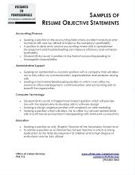 Accounting Objectives For Resumes Finance Internship Objective