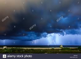 Florida Miami Beach Night Lightning Storm Rain Clouds Atlantic Ocean