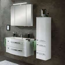 details zu badezimmer waschtisch set mineralguß waschbecken badschrank spiegel schrank weiß