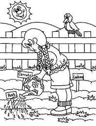 Watering Vegetables Garden Coloring Pages