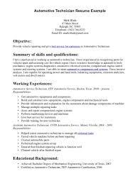 Mechanic Resume Skills For Study Examples