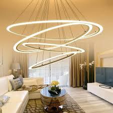 Dining Room Lamp Modern Led Suspension Chandelier Oval Strip Home Lighting For Kitchen
