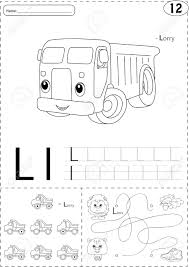 Cartoon Lorry And Lion Alphabet Tracing Worksheet Writing A Z Coloring Book Educational