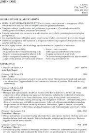 Sample Resume Restaurant Manager Worker For Job