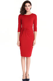jhonpeter women u0027s round neck casual knee length solid dress red