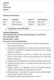 Resume Sample For Human Resource Format Objectives Fresh Graduates