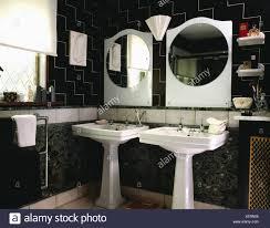 spiegel und weißen doppelpodest becken schwarz 30er jahre
