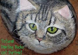 cat on how to paint stones cat portrait feltmagnet