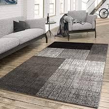 paco home designer teppich modern kariert kurzflor design meliert in grau creme braun grösse 60x110 cm