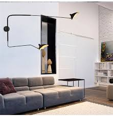 nordic black white replica serge mouille wall l 2 arms rotating