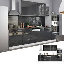 vicco küche fame line küchenzeile einbauküche block 295cm anthrazit hochglanz