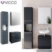 vicco badmöbelset freddy spiegelschrank unterschrank hoch anthrazit hochglanz