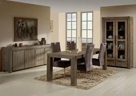 salle à manger contemporaine en bois massif coloris gris brumeux