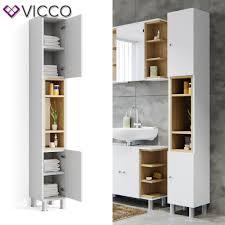 vicco badschrank aquis weiß eiche 200 cm badezimmerschrank hochschrank bad schrank badregal