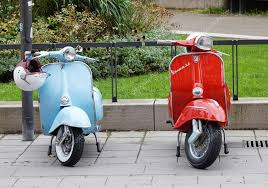 One Blue And Red Retro Vespa Scooters Parked Stock Photo 122301486