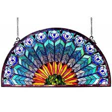 chloe peacock design half round stained glass window panel