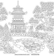 Coloring Page Of Oriental Temple Japanese Or Chinese Pagoda Tower Freehand Sketch Drawing For