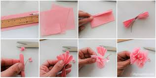 Using A Pencil And Ruler Measure 25 X 325 Rectangles You Will Need Four Per Flower Fold Over The Tissue Paper So That Can Cut Several At Time