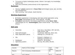 Core Java Sample Resume For Freshers Experienced Software Engineer