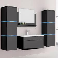 home deluxe wangerooge m badmöbel set mit 60cm waschbecken und zubehör schwarz