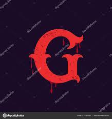 G Letter Logo Vintage Slab Serif Type With Blood Splashes Stock