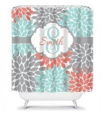Teal Color Bathroom Decor by Coral Shower Curtain Foter