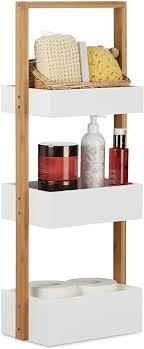 relaxdays badregal bambus badezimmerregal mit 3 körben korbregal fürs bad mdf hxbxt 76 x 30 x 18 5 cm weiß natur