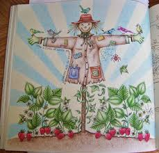 Adult Coloring Book Secret Garden Johanna Basford Scarecrow Done With Prismacolor Scholar By Donna