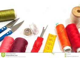 Various sewing supplies stock image Image of design