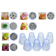 Plastic Russian Tips Pastry Nozzle 7pcs Set 3D Flower Decorating Molding Icing Piping Baking
