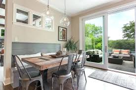 Shiplap Dining Room Gray Bench With Reclaimed Wood X Based Table Accent Wall