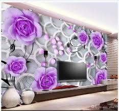 großhandel individuelle fototapete 3d wandbilder tapete purple blumen kreis mode wohnzimmer wandbild 3d tv hintergrund tapeten zhu77 8 25