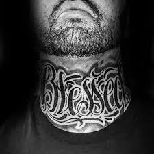 BLESSED Front Neck Tattoo