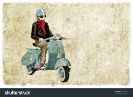 Old Style Bike Vespa Digital Illustration
