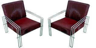 1960's Streamline Chrome Lounge Chairs In Red Cowhide | Modernism