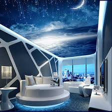 Galaxy Wallpaper 3D View Photo Bedroom Ceiling Room Decor Starry Night Murals Club Living Charming Moon Meteor In Wallpapers From Home